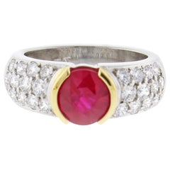 Burma Ruby and Diamond Ring by Pampillonia