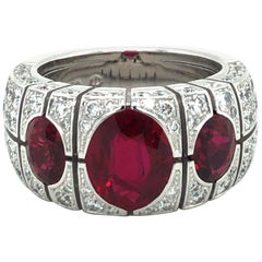 Burma Ruby and Diamond Ring by Péclard in 18 Karat White Gold