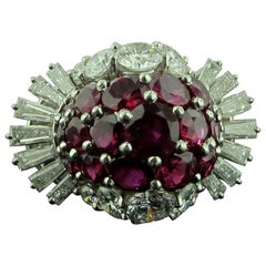 Burma Ruby and Diamond Ring in White Gold
