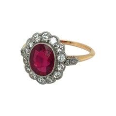 Burma Ruby and Diamonds Rose Gold Platinum Ring, circa 1910