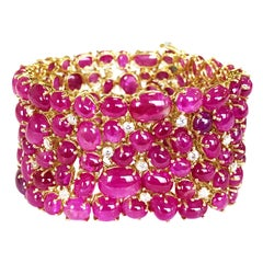 Burma Ruby Cabochon and White Diamond Cluster Bracelet in 18 Karat Yellow Gold