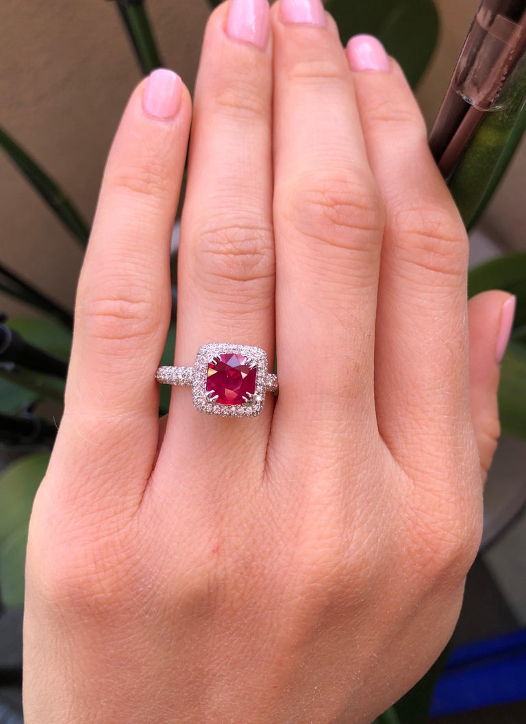Contemporary Burma Ruby Ring 1.28 Carats For Sale