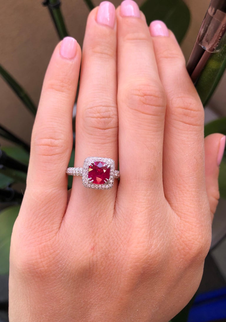 Cushion Cut Burma Ruby Ring 1.28 Carats For Sale