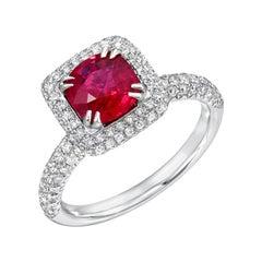 Burma Ruby Ring Cushion Cut 1.28 Carats