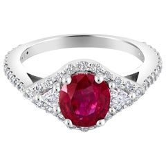Burma Ruby and Diamond White Gold Ring Weighing 2.07 Carat