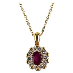 Burma Ruby Diamond 18 Karat Yellow Gold Pendant Necklace