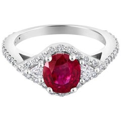 No Heat Magok Mined Burma Ruby Diamond Platinum Ring Weighing 2.52 Carat GIA