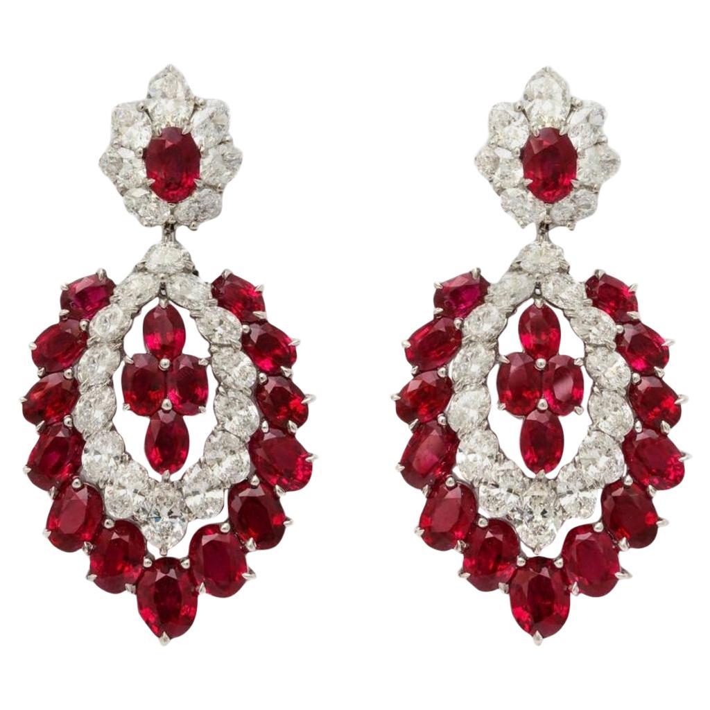 Burma Ruby Diamond Chandelier Earrings