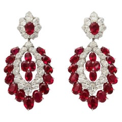 Burma Ruby Diamond Chandelier Earrings