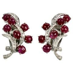 Burma Ruby Diamond Earrings 14k