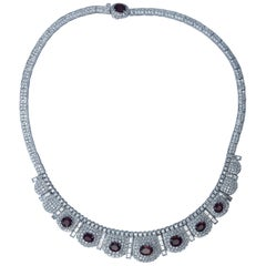 Burma Ruby Diamond Necklace Set in 18 Karat White Gold