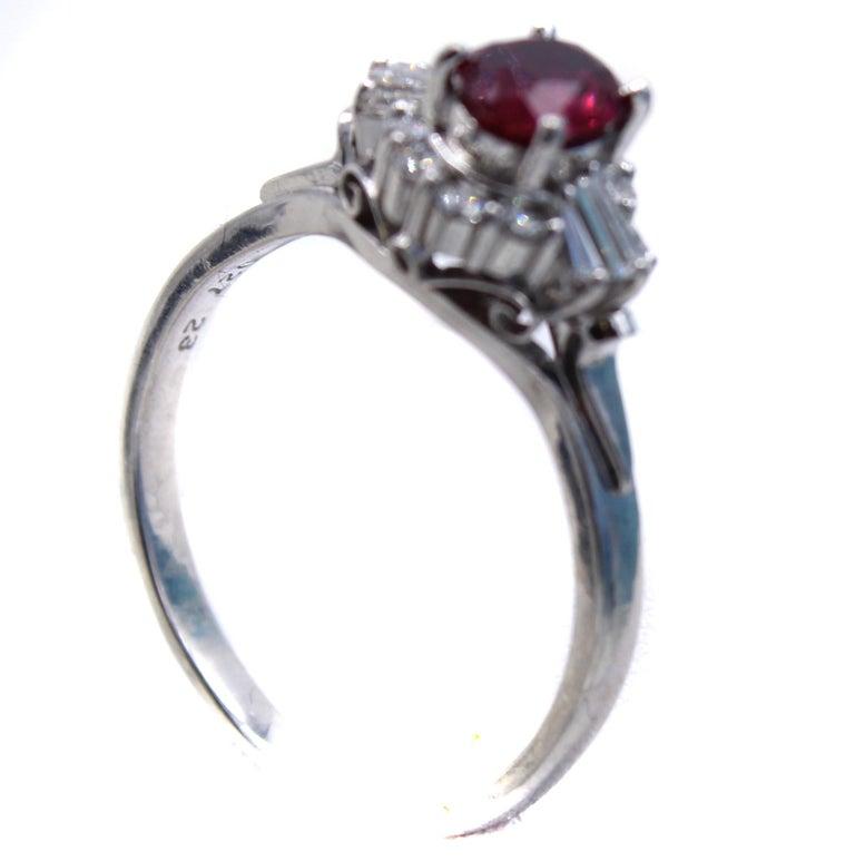 Contemporary Burma Ruby Diamond Platinum Engagement Ring
