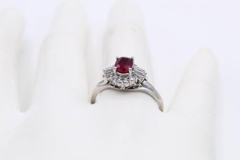 Women's or Men's Burma Ruby Diamond Platinum Engagement Ring