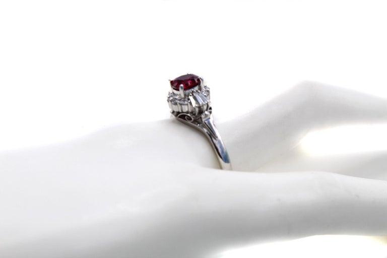 Burma Ruby Diamond Platinum Engagement Ring 1
