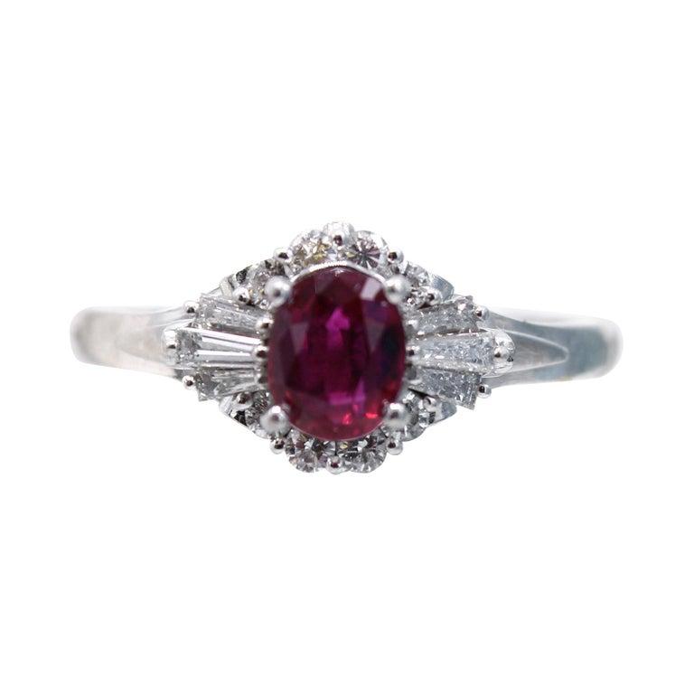 Burma Ruby Diamond Platinum Engagement Ring