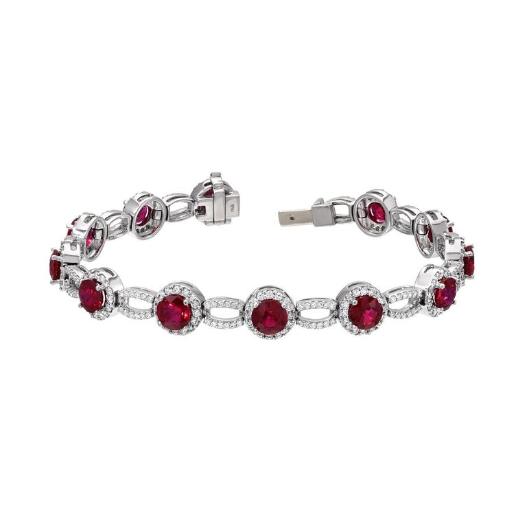 Contemporary Burma Ruby Bracelet 9.18 Carats For Sale