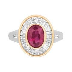 Burma Ruby Diamond Ring 18k White & Rose Gold Andreoli Certified