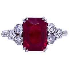 Burma Ruby Diamond Ring 4.79 Carat AGL Certified 18 Karat White Gold
