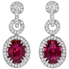 Burma Ruby Earrings AGL Certified 3.54 Carats