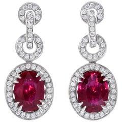 Burma Ruby Earrings AGL Certified 3.54 Carat Ovals