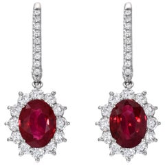 Burma Ruby Earrings 3.51 Carat GIA Certified