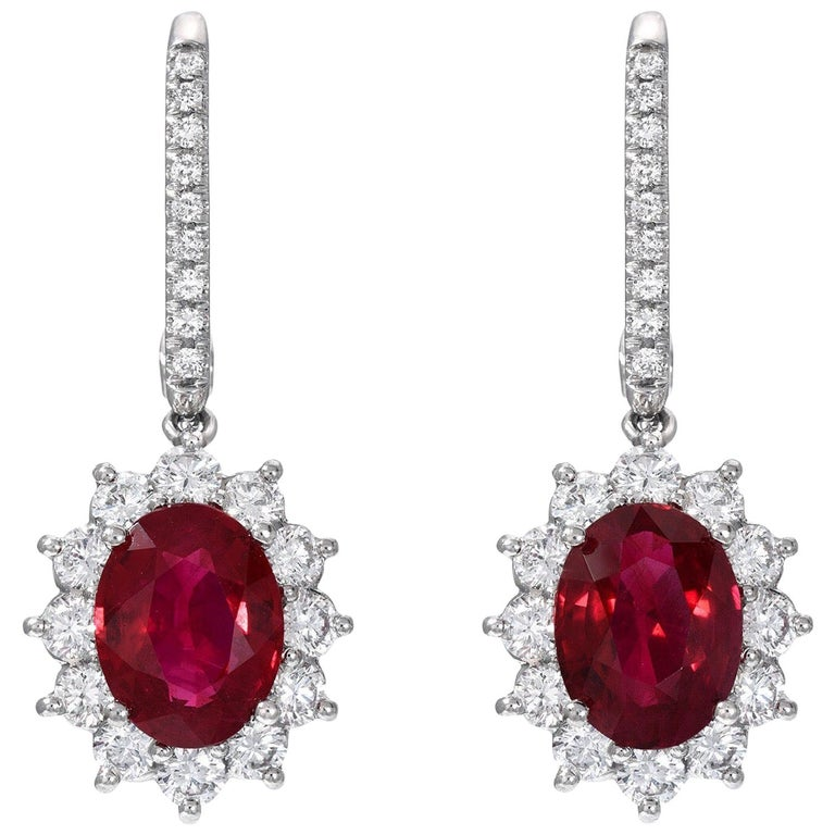 Burma Ruby Earrings 3.51 Carat GIA Certified For Sale