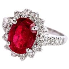 Burma Ruby No Heat Natural Certified Gia Diamond 18 Karat Gold Ring