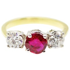 Burma Ruby Old European Cut Diamond 3-Stone Ring