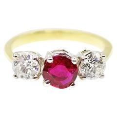 Burma Ruby Old European Cut Diamond 3-Stone Ring
