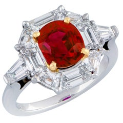 "Burma Ruby Rare AGL  ""Classic Burma"" No Heat Set in Diamond Gold Platinum Ring"