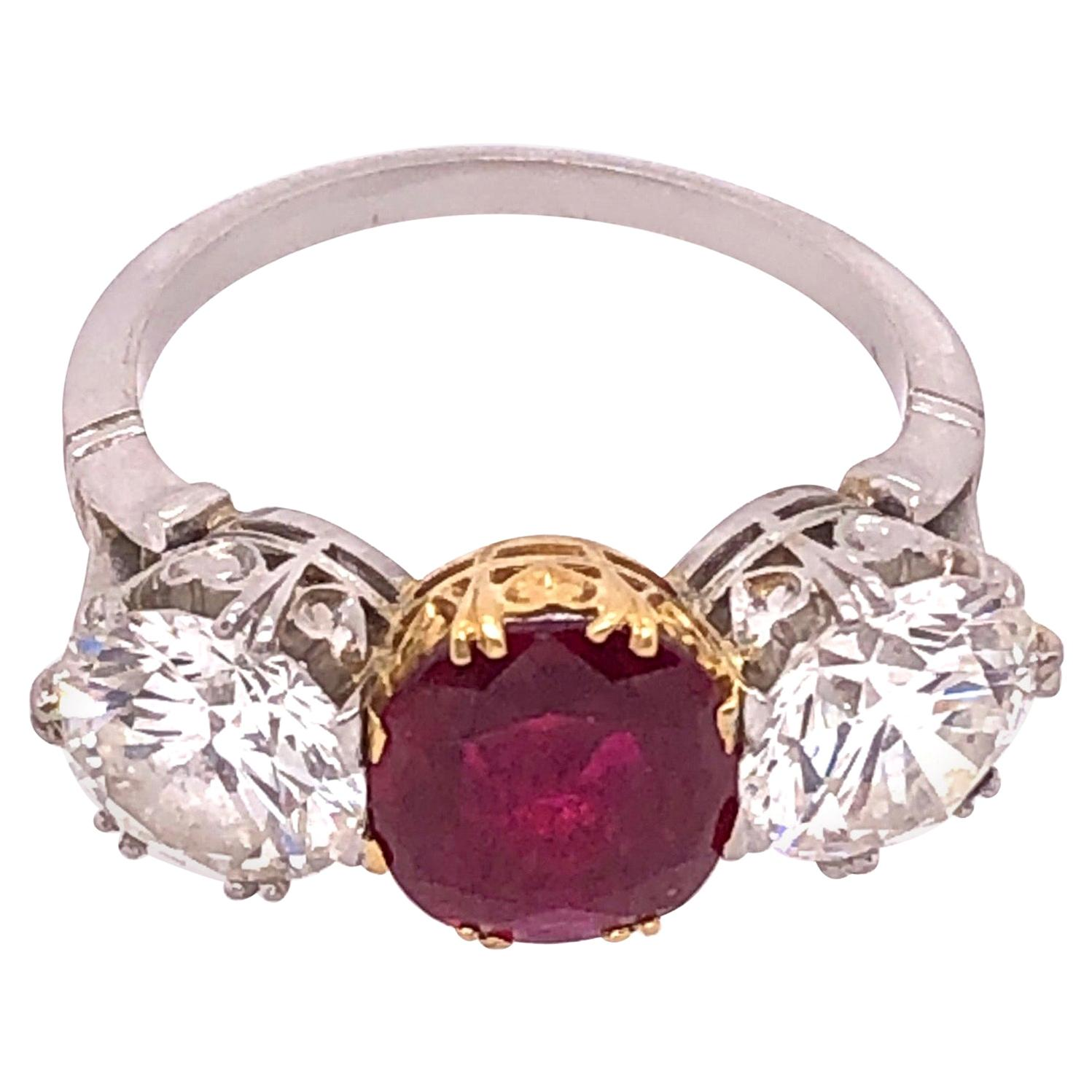 Burma Ruby Red and Diamond Dinner Ring, Engagement Ring
