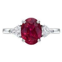 Burma Ruby Ring 2.34 Carat Oval