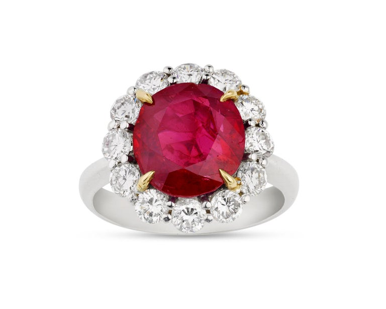 Dramatic yet classic, a 5.25-carat oval mixed-cut Burma ruby exhibits its ideal red hue in this ring. For centuries, the Burmese ruby has ranked among the most sought-after gemstones in the world, as stones that hail from these legendary mines are