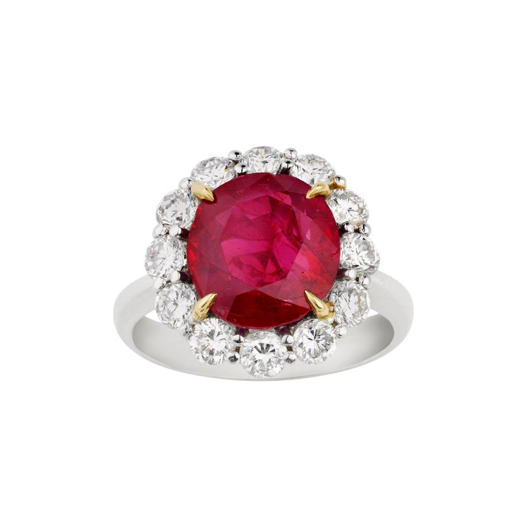 Burma Ruby Ring, 5.25 Carats For Sale