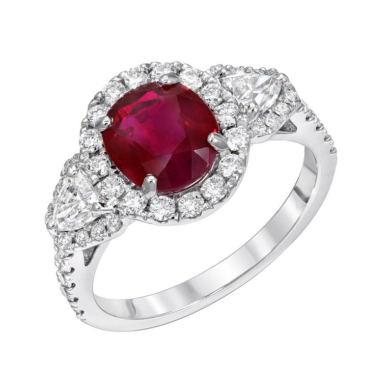 Burma Ruby Ring Oval 2.38 Carats  For Sale 1