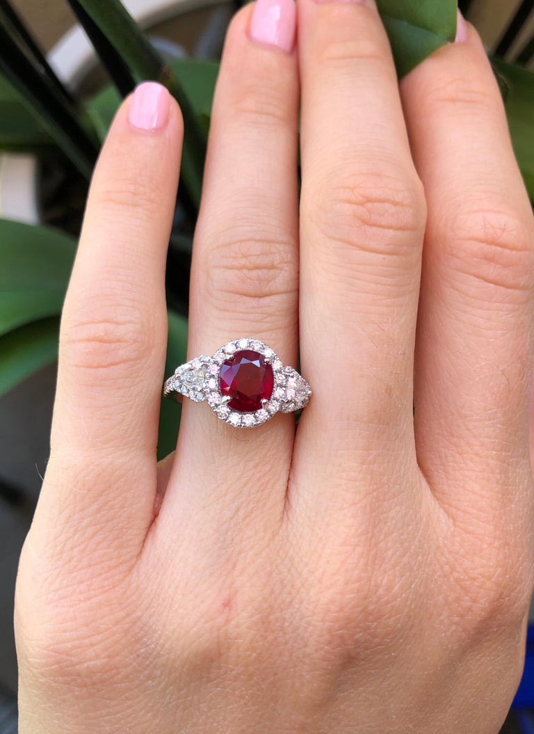 Contemporary Burma Ruby Ring Oval 2.38 Carats  For Sale