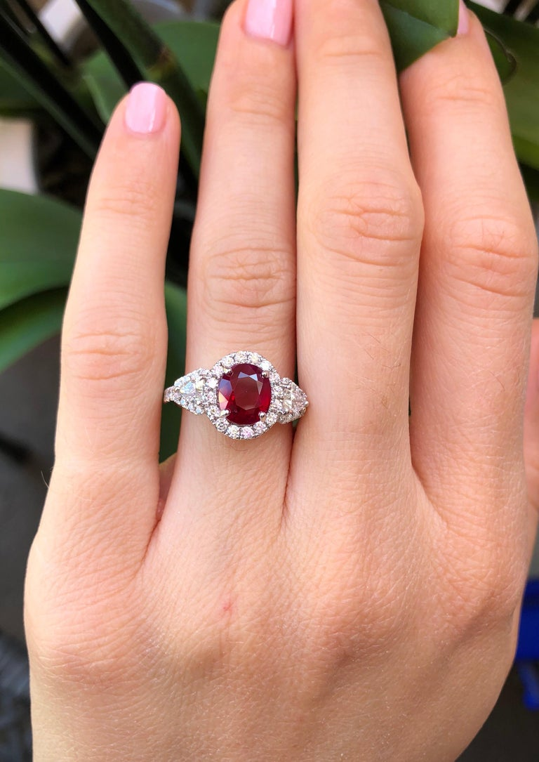 Oval Cut Burma Ruby Ring Oval 2.38 Carats  For Sale