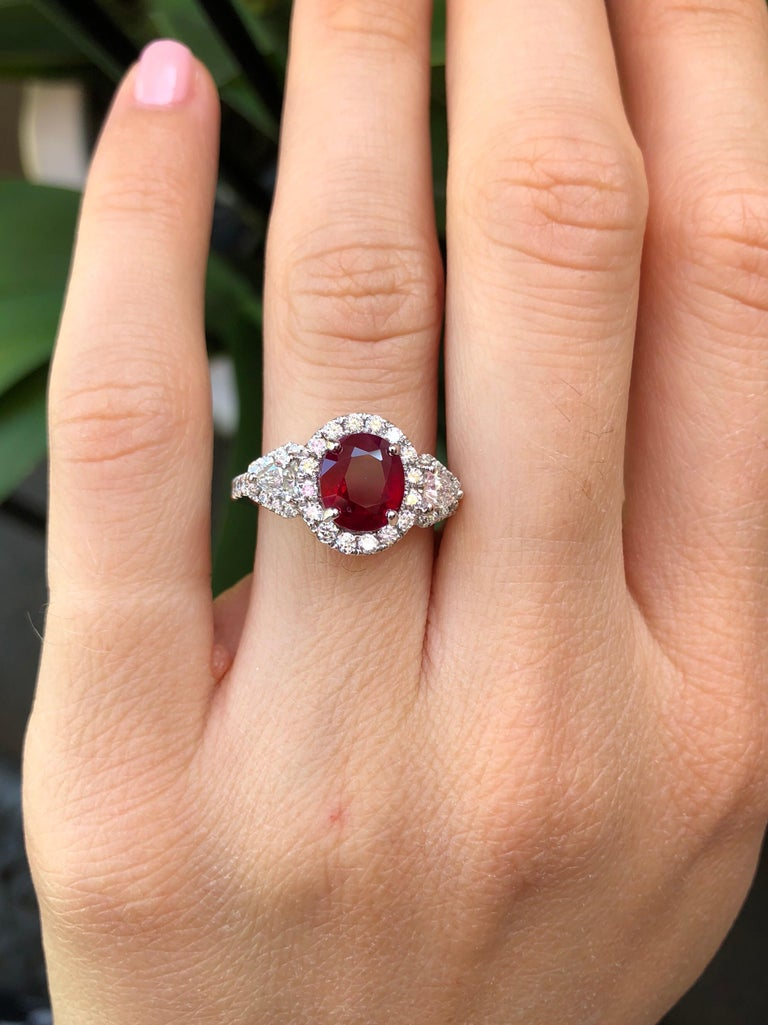 Women's Burma Ruby Ring Oval 2.38 Carats  For Sale