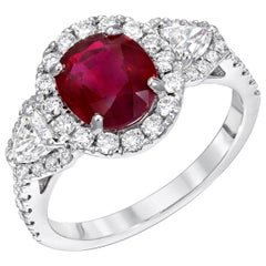 Burma Ruby Ring Diamonds White Gold Cocktail Engagement Ring