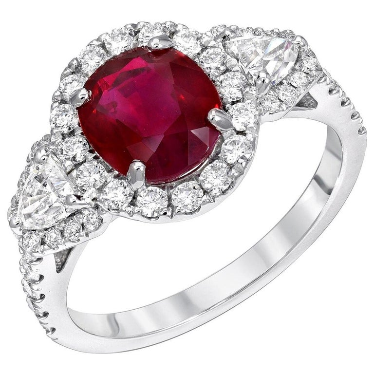 Burma Ruby Ring Oval 2.38 Carats  For Sale
