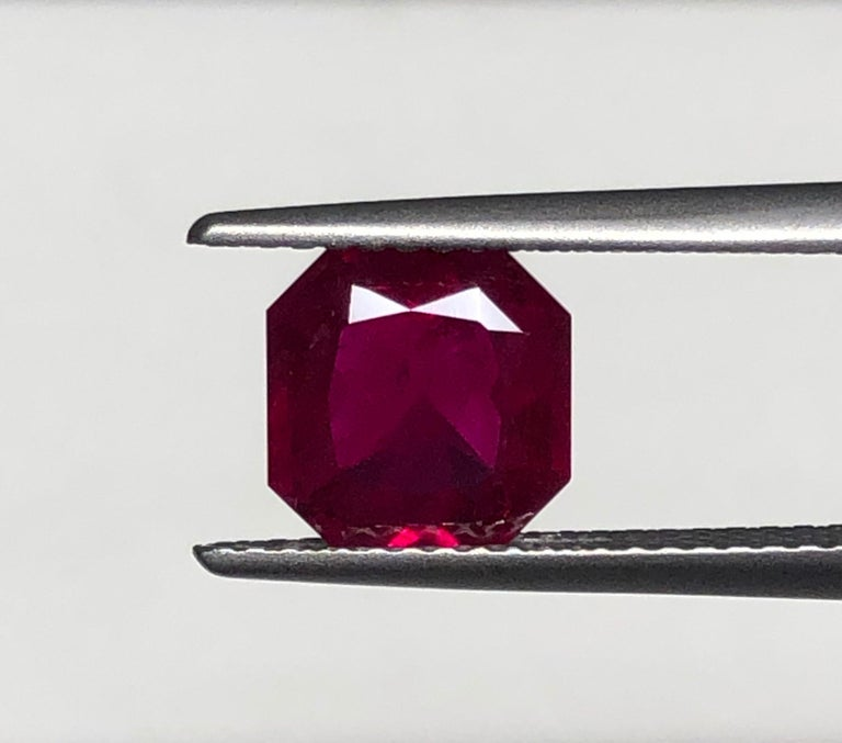 Burma Ruby Ring Gem Vivid Red Pigeon's Blood 2.14 Carat Emerald Cut  In New Condition For Sale In Beverly Hills, CA