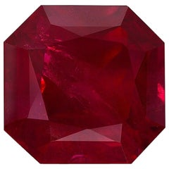 Burma Ruby Ring Gem Vivid Red Pigeon's Blood 2.14 Carat Emerald Cut