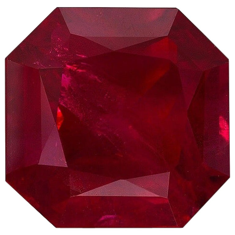 Burma Ruby Ring Gem Vivid Red Pigeon's Blood 2.14 Carat Emerald Cut  For Sale