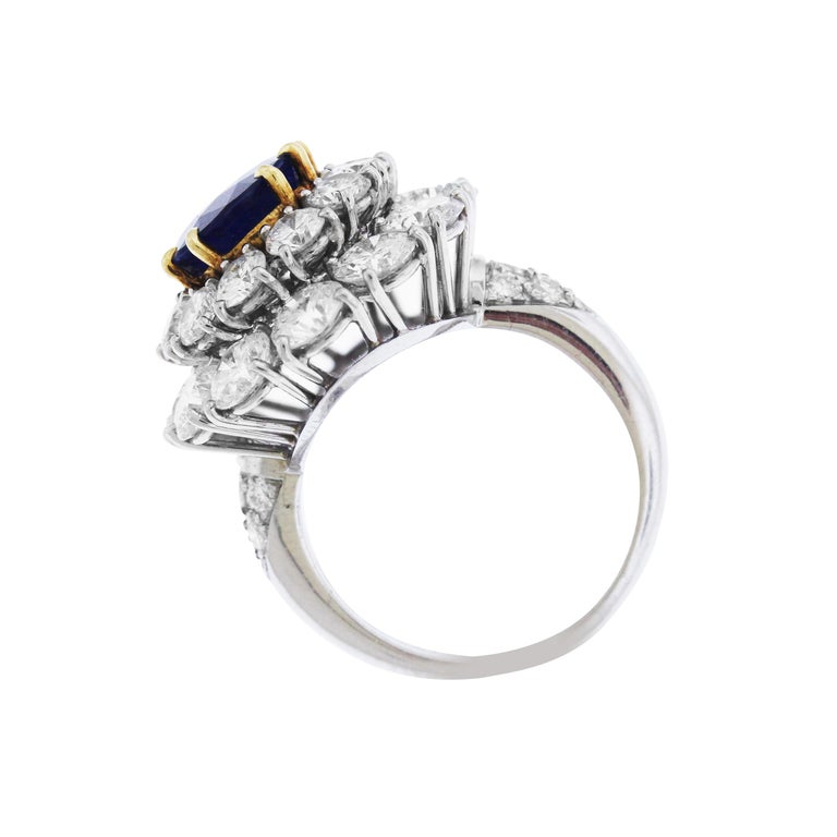 Women's Burma Sapphire and Diamond Platinum Ring GIA Certified For Sale