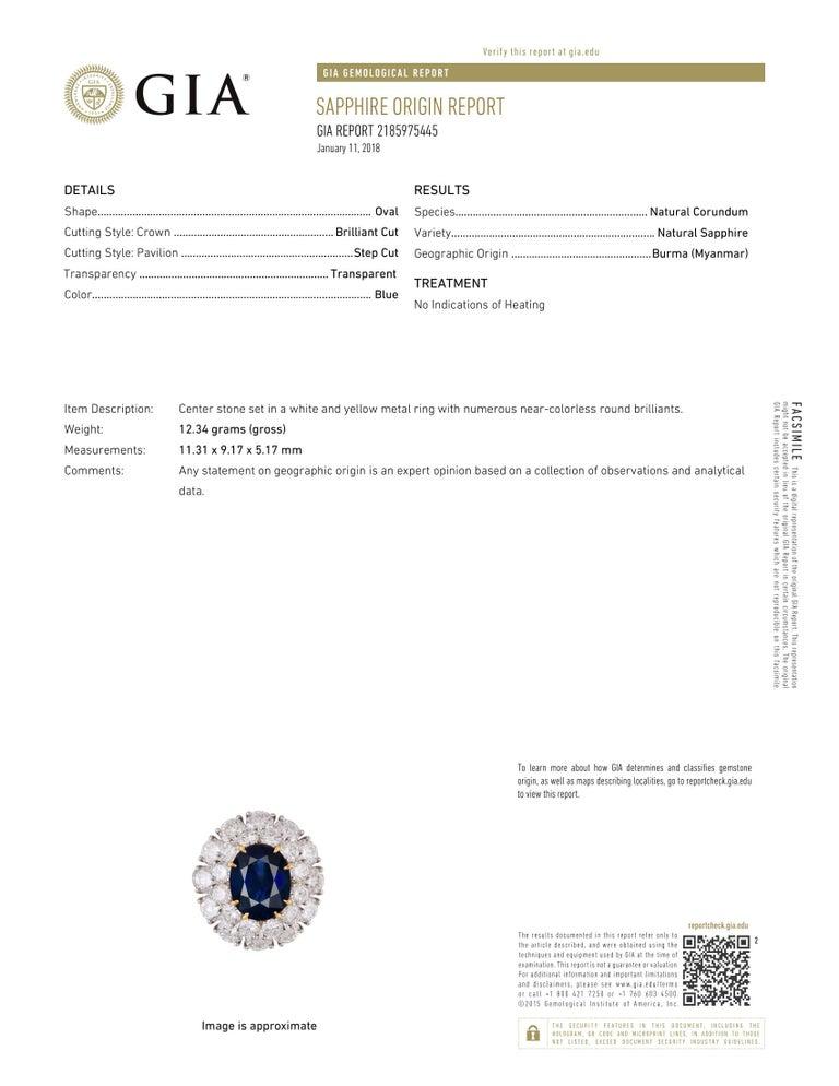 Burma Sapphire and Diamond Platinum Ring GIA Certified For Sale 1