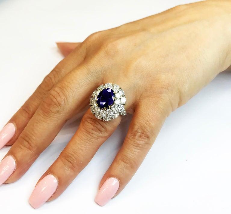 Burma Sapphire and Diamond Platinum Ring GIA Certified For Sale 2