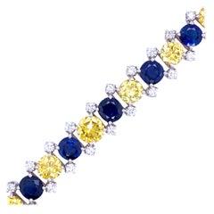Burma Sapphire and Yellow Diamond Bracelet