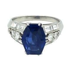 Burma Sapphire Diamond Platinum Dress Ring