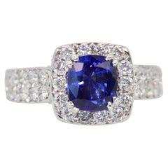 Burma Sapphire Ring with Diamond Surround 18 Karat