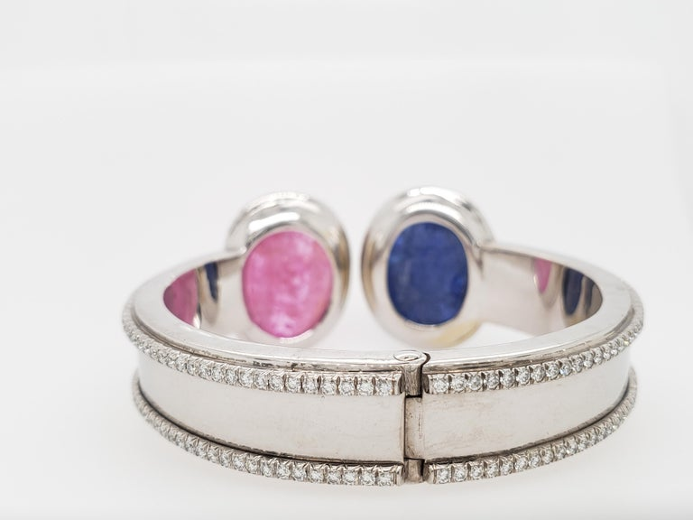Contemporary Burma Sapphire and Ruby Hand Carved with Diamond Bracelet Cuff 'Bangle' For Sale